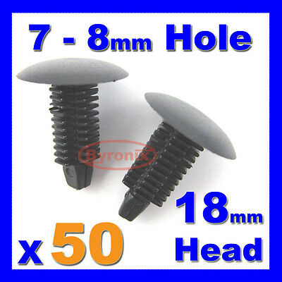 20 x darkgrey Plastique Sapin TRIM CLIPS 6 MM trou 18 mm tête de voiture panel fastener