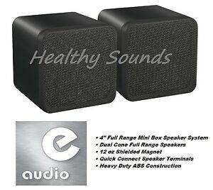 e-audio-Black-4-034-Full-Range-Dual-Cone-Mini-Box-Speaker-8-Ohms-80-W-B406A