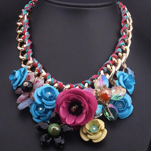 Fashion Women Rhinestone Rose Flower Pendant Bib Statement Weaved Chain Necklace