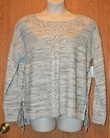 Womens Gray Ivory Cloud Chaser Lace Up Side Sweater Size Large
