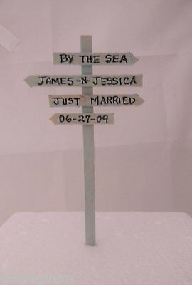 Wedding Beach Ocean Sunsets Just Married by the Sea Cake Topper Personalized