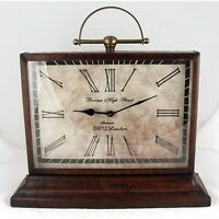 Classic Table/desk Clock 42cm Antique Leather Finish Barnes High Street London