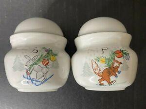 Vintage-Fox-amp-Rabbit-Christmas-Salt-and-Pepper-Shaker-Set-made-in-Japan-Skiing