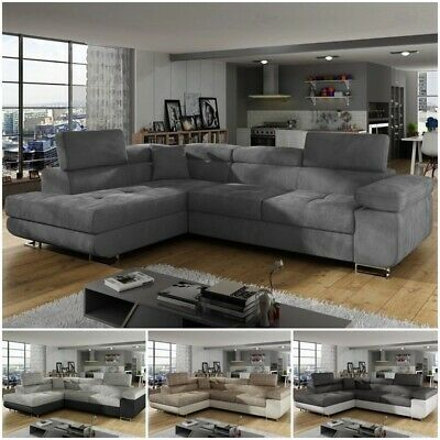 ANNA Corner Sofa Bed Relax Function Storage Faux Leather Fabric Left And Right | EBay