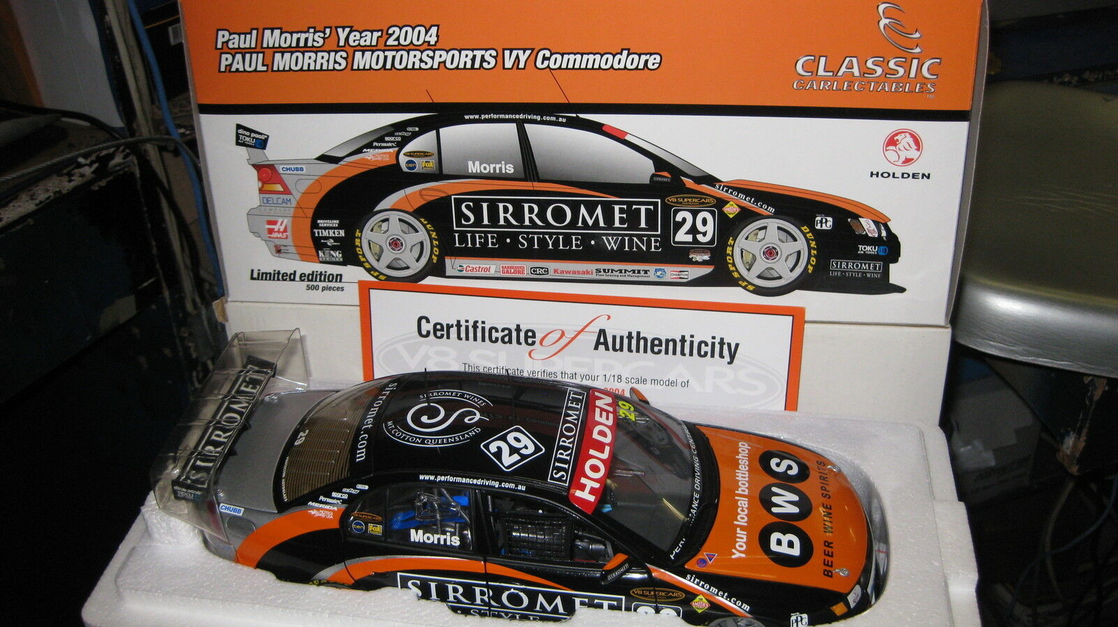 1 18 CLASSIC HOLDEN VY COMMODORE PAUL MORRIS SIRROMET 2004 V8 SUPERCAR  29 18145