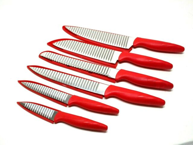 Kitchen Master 6pc Ribbed Kitchen Knife Set With Sheath Red New