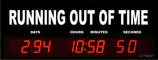 Digital LED Countdown Event Timer - RUNNING OUT OF TIME - ETCD100-07