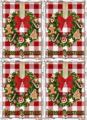 Decoupage-Bastelpapier-Softpapier-Vintage-Shabby-Weihnachten-Kranz-12791