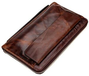 2019-Vintage-Genuine-Cowhide-Leather-Wallet-Men-039-s-Travel-Clutch-Bag-Bifold-Purse