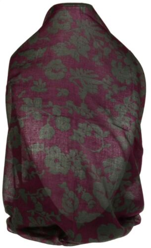 Womens Dual Colour Floral Scarf Flower Summer Spring Paisley Shawl Wrap Fashion