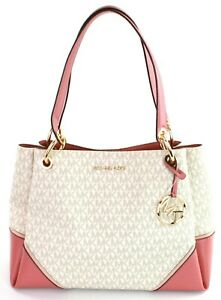 Michael-Kors-Shoulder-Tote-Bag-Nicole-Logo-Monogram-PVC-Medium-Vanilla-amp-Pink