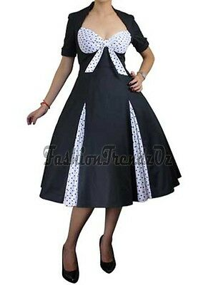 Rockabilly 50s Vintage Retro Pin Up Evening Party Swing Dress Size 8 - 28 Plus