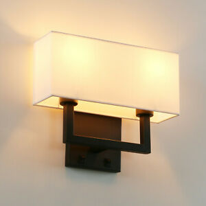 Image Is Loading Modern Cloth Fabric Shade Double Arm Wall Lamps