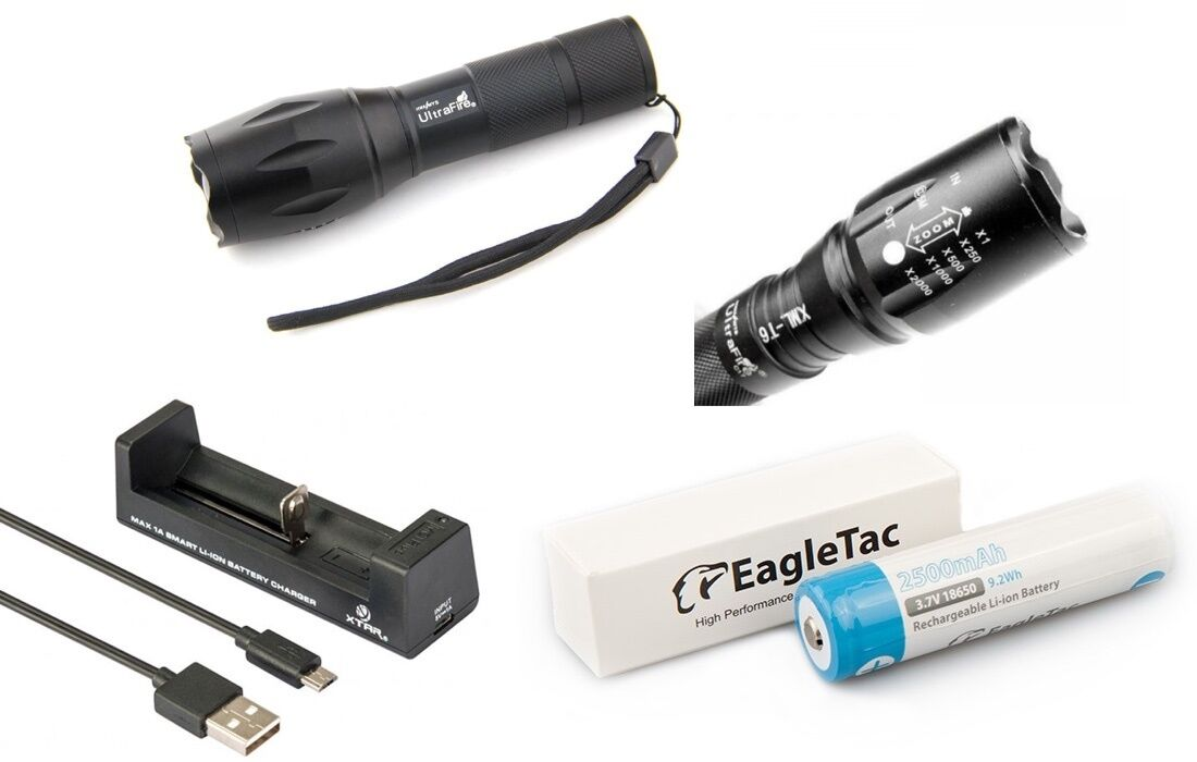 LED Flashlight UFI - 1000 Lumen + Eagletac 18650 Battery 2500mAh+Charger