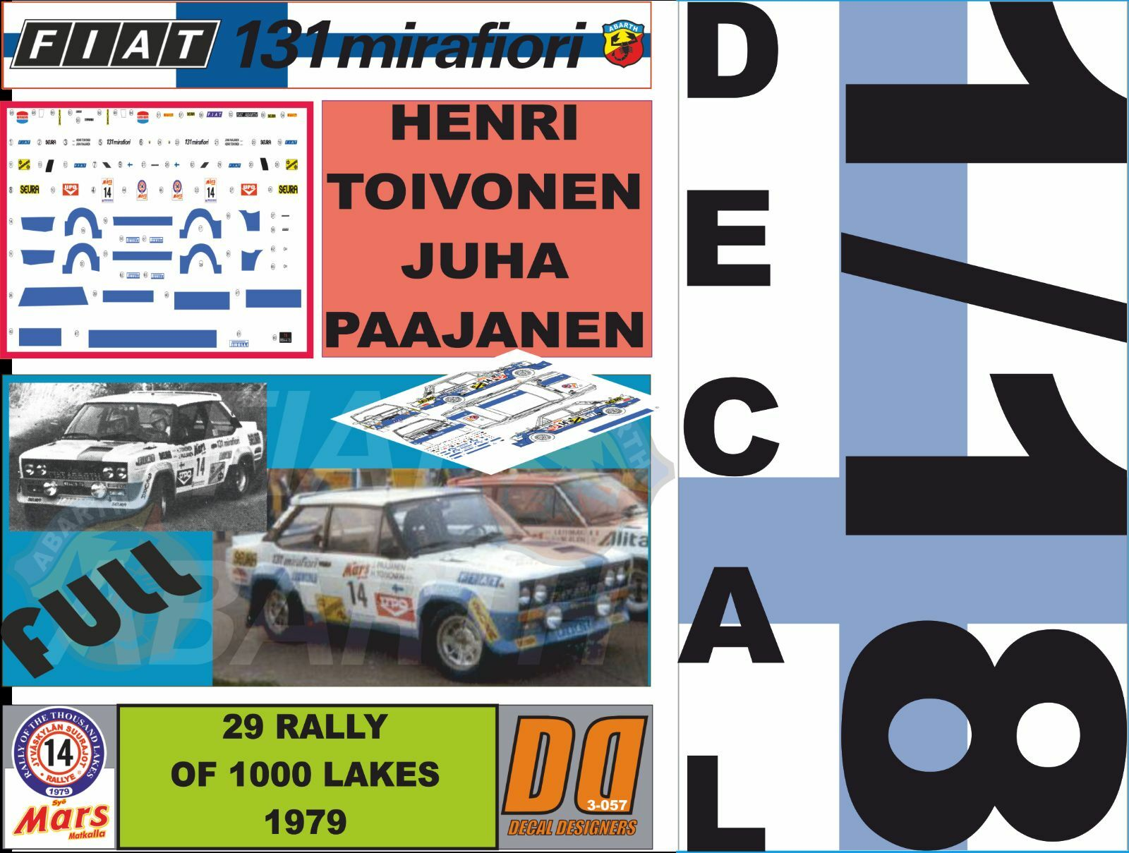 DECAL 1 18 FIAT 131 ABARTH H.TOIVONEN 1000 LAKES 1979 (FULL) (06)