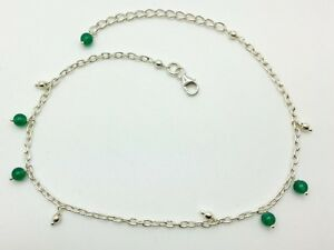 068c8f42268 925 Sterling Silver Charm Bracelet Or Ankle Chain Anklet ~ Green & Plain  Heart Fine Jewelry
