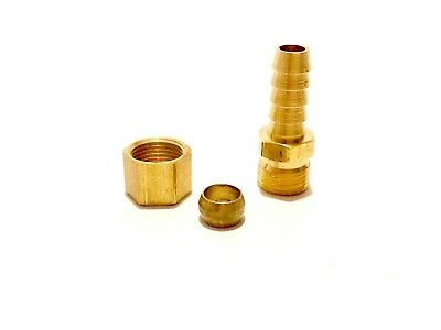 Compression 5//16 OD to 3//8 Hose Barb Fitting Transmission Cooler Line Brass