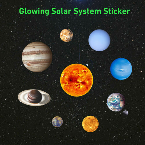 Glow In The Dark Round Planets Star Luminous Wall Stickers Kids Ceiling Bedroom