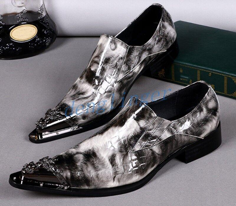 migliori prezzi e stili più freschi Mens Mens Mens Leather pointy Metal Toe Dress Oxfords Slip On scarpe Wedding Low Heel scarpe  autorizzazione ufficiale