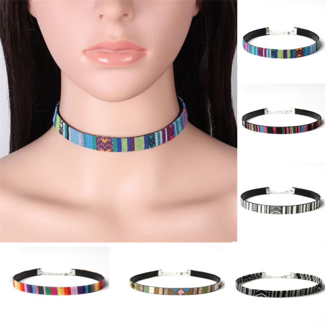 Bohemian Ethnic Retro Style Collar Choker Statement Bib Embroidery Necklace