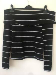 40517d7b422c93 zara woman black and white off the shoulder stripe long sleeve top ...