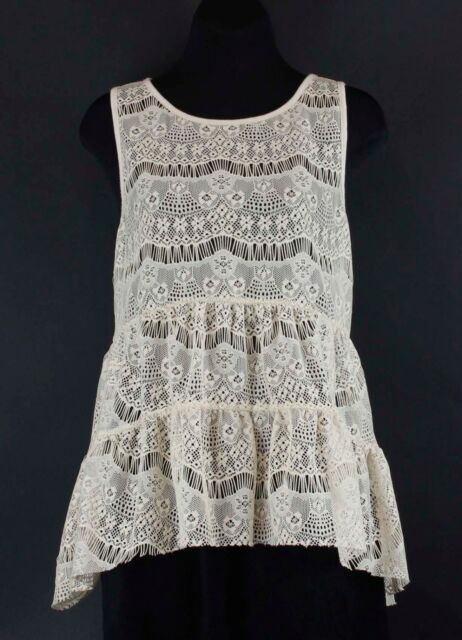 Lily White Sz L Cream Lace Floral Boho Embroidered Sleeveless Flow Top B22