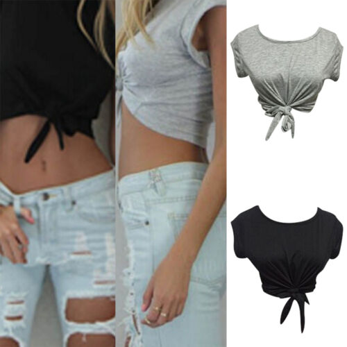 Femmes Summer Tops noué cravate front Crop Tops recadré T Shirt chemisierK LC