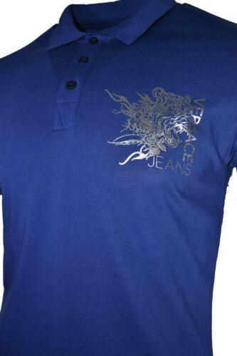 BNWT VERSACE JEANS BLUE SILVER FOIL TIGER logo sul petto sottile POLO T-Shirt Top