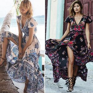 Summer-Women-039-s-Floral-Boho-Long-Maxi-Dress-Evening-Party-Cocktail-Beach-Sundress