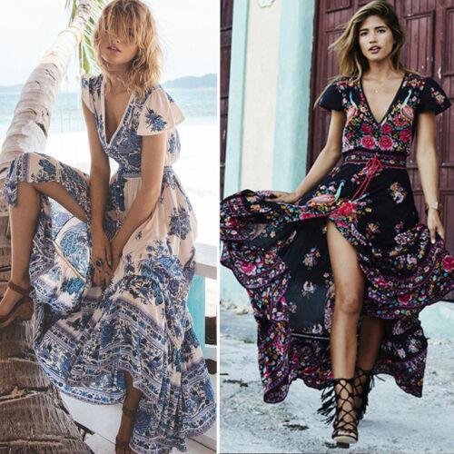 Damen Maxikleid Sommerkleid BOHO Lang Kleider Blumen Freizeit Strand Partykleid