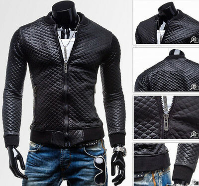 Mens PU Leather Jacket Black Slim Stand Collar Biker Motorcycle Jacket Overcoat