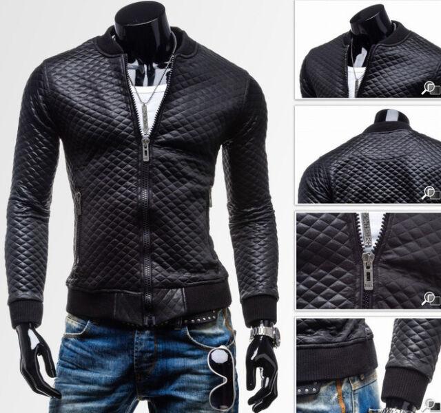 Black New Stylish Men's PU Leather Jacket Outwear Winter Coat Casual Slim Fit