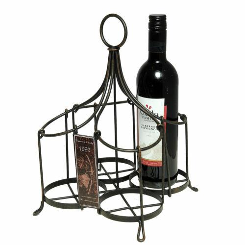 Soporte para botellas 4er nostalgic Hierro Antiguo negro fläschenträger 22x22x35cm