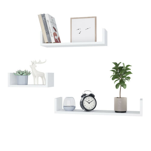 3PC Floating U Nesting Wall Shelf Display Decor Mount Ledge Storage 11~18 lbs