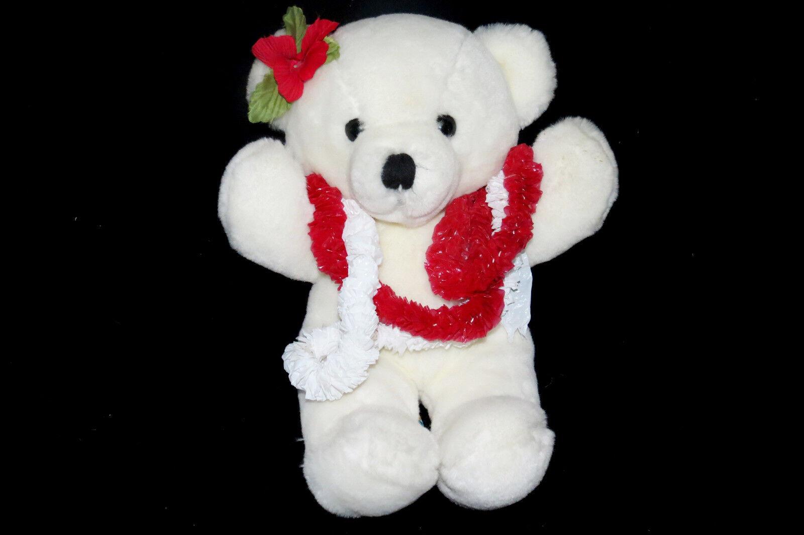 Dakin Cuddles Bear Weiß Hawaiian Lei Vintage Teddy Plush Flower 1979 Toy 14
