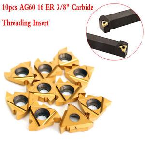 """10pcs AG60 16 ER 3//8/"""" Carbide Threading Insert for External Turning Tool"""