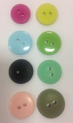 Smartie boutons x6 12-17 mm Mat Brillant 2 Trous compteur rond 9 couleur vert kaki