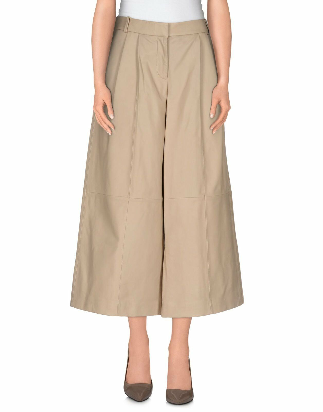 NWT TIBI BEIGE LEATHER 3 4 LENGTH WIDE LEG PANTS SIZE 2 ,024.00 Last one