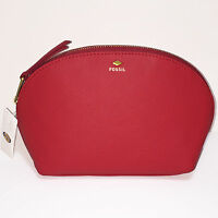 Fossil Genuine Leather Cosmetic Bag Clutch In Real Red
