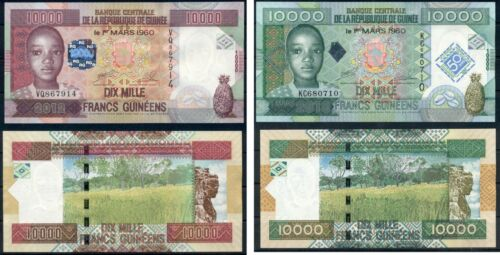 GUINEA SET OF 10000 FRANCS UNC 2010 AND 2012 BANKNOTES