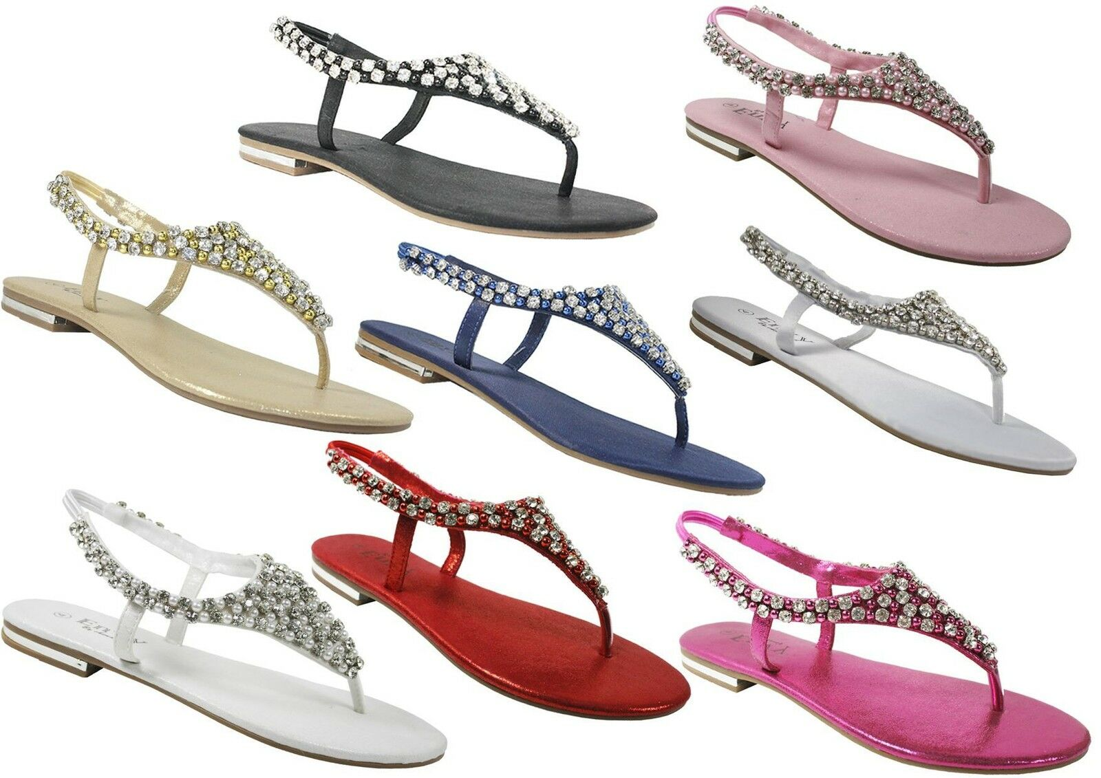 Womens flat sling sandals diamante pearl ladies sling flat back holiday casual party shoes 517602
