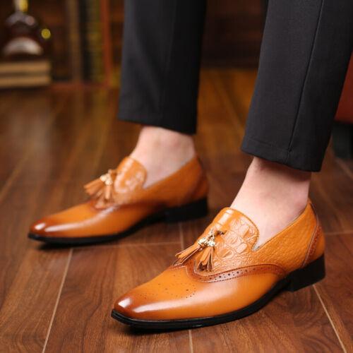 Details about  /Mens Tassels Oxfords Dress Shoes Slip On Wingtip Faux Leather Brogues Business L