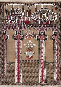 Geometric-Balouch-Brown-Pictorial-Area-Rug-Wool-Hand-Knotted-Oriental-Carpet-3x3