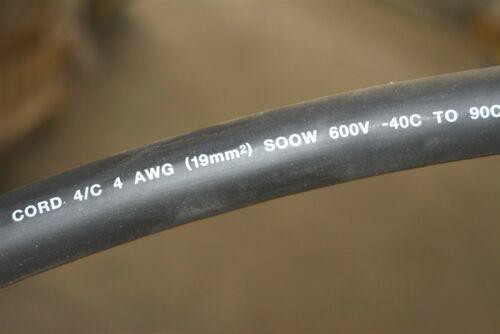 20/' Southwire Royale 4//C 4-Conductor 4 AWG 600V Heavy Duty Power Cable SOOW