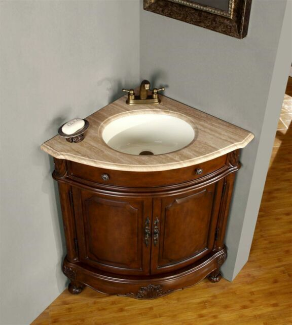 32 0126tr Travertine Stone Top White Corner Sink Bathroom Vanity Cabinet For Sale Online Ebay