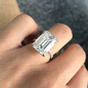 4ct Emerald Cut Diamond Hidden Halo Solitaire Ring Women 14k White Gold Over Ebay
