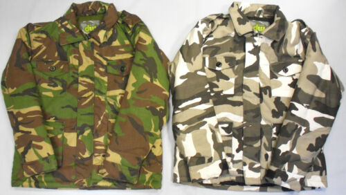 Boys Childrens Camo Camouflage Army Safari Style Jacket Coat Green Warm Blue