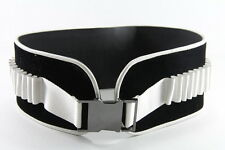 ELEGANT LADIES BLACK WHITE WAIST CLINCHER GUN METAL BUCKLE UNIQUE NEW (HT18)