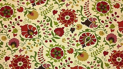 "RICHLOOM SAHALIE HENNA BEIGE FLORAL SUZANI OUTDOOR FABRIC BY THE YARD 54"" WIDE"