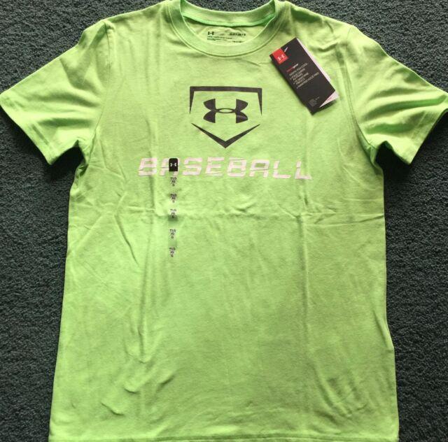 1b46e7b7 Under Armour Boys XL Green Baseball Logo Loose Fit Short Sleeve
